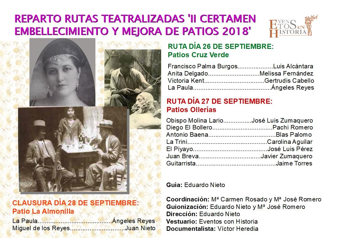 Programa Visitas Teatralizadas Patios 26 y 27 Septiembre 2018